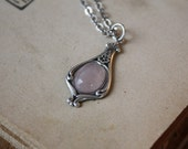 Rose Quartz Necklace - Victorian Necklace - Bridesmaid Necklace