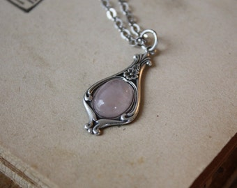 Rose Quartz Necklace - Victorian Necklace - Bridesmaid Necklace