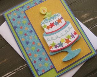 Happy Birthday to You with Layered Cake with Stars  - Handmade Birthday Card