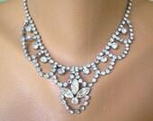 STATEMENT BRIDAL NECKLACE, Crystal Bib Wedding Necklace, Rhinestone Wedding Jewelry, Crystal Bridal Jewelry Great Gatsby, Bridal Choker