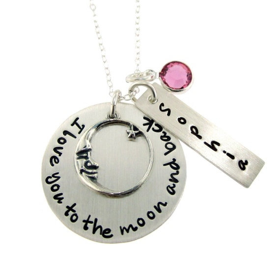 I Love You To the Moon and Back Personalized Sterling Silver Necklace with Name and Birthstone