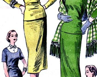 UNCUT 1950's Advance Pattern 6334 - STUNNING High Fashion Two Piece Dress  with Stole - Size 14 Bust 32