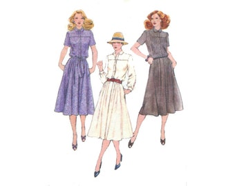 1970s Dress Pattern Blouson Tucked Front Shirt Dress Loose Fitting Short or Long Sleeves Simplicity 9254 Bust 36 Vintage Sewing Pattern