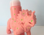 Upcycled Foaming Soap Dispenser - Triceratops Dino with Pink and Green Polka Dots
