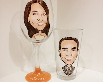 Toasting Glasses for the Bride and Groom  - Fun - The Original Caricature Glasses (tm) - Hand Painted  Wine Glasses
