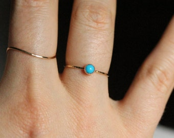 Select a Stone - Delicate Birthstone Cabochon Stacking Ring in Solid 14k Gold - Bezel Setting and Hammered Band - Simple Tiny Dainty Thread