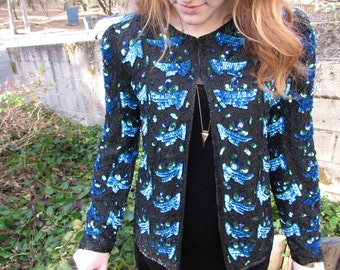 MERMAID GLITZ - Glamorous Bright Blue and Green 80s Abstract Beaded Sequined Silk Glittery Shimmery Festive Hip Chic Shoulder Pad Blouse