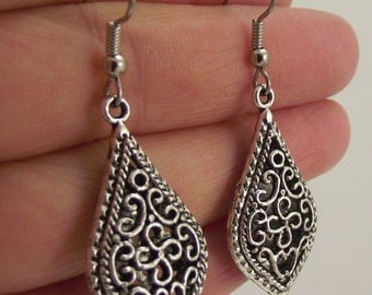 Ornate Antiqued Silver Filigree Teardrop Earrings - Silver Earrings - Wedding Gift - Bridesmaid Gift - Bride - Gift for her - Gift under 25