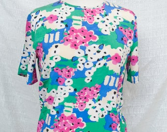 floral monet-esque silk blouse S/M