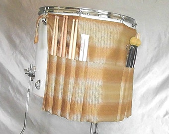 Roll It Ups Drumstick Bag Gold Tones- Drum Stick Bag Drumstick Stick Bag for Drummers on Drum Set and Percussion