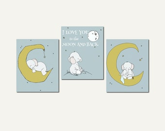 Elephant Nursery Art -- Set of 3 Prints -- Elephants and Moon Stars Art -- Kids Wall Art -- I Love You To The Moon And Back