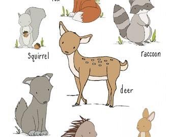 Woodland Nursery Art -- Woodland Friends -- Woodland Animal Chart -- Woodland Animal Art, Children Art Print, Kids Wall Art