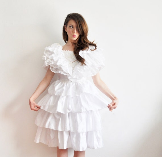 kawaii tier layer cupcake dress . japanese mexican bridal delight .extra small.small.xs .sale