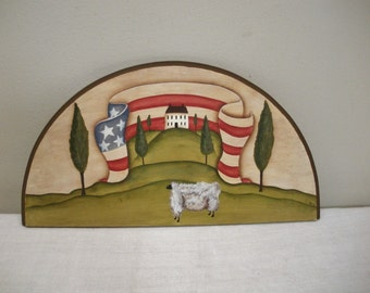 Hand Painted Americana Primitive Folk Art Door Crown