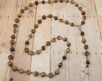 Wood Bead Rosary - Coconut Wood Beads with Gunmetal and Silver