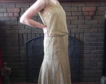 Vintage 20s Dress , Antique 1920s Flapper Gorgeous Lace Cocktail Dress Sm - on sale