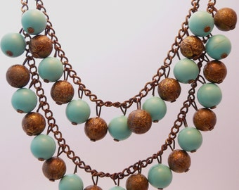 Turquoise Bead Necklace Dangling Two Strand Vintage Bib
