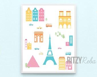 Paris Nursery Map Print - Eiffel Tower France Girl Boy Nursery Minimalist Modern Wall Art, Childrens Kids Nursery or Paris Playroom Art