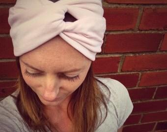 Blush Pink Double-Up Jersey Turban Headband - Womens Organic Accessory - Hand Dyed - Summer Beach Hair - Ready To Ship
