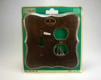 Solid Wood Pine Combination Switch Plate, Dark Stain, Edmar Creations, Retro, 1970's, Renovations