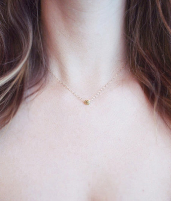 Tiny Gold Heart Necklace | Delicate Gold Jewelry