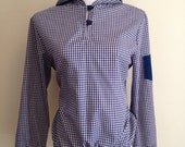 Vintage Wrangler Navy Blue and White Checked Plaid Shirt Jacket Hooded Large L