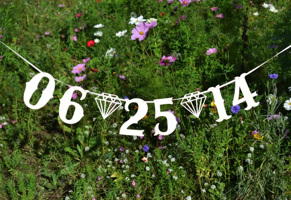 Custom colour and date wedding banner