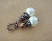Ivory Pearl Earrings Rustic Brown Metallic Copper Wire Wrap Earrings Dangle Large Pearl  (E2)