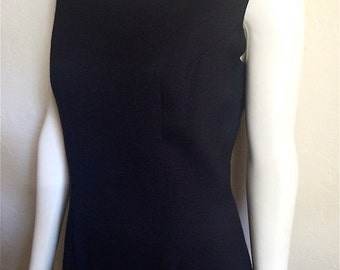 Vintage Women's 60's Dress, Black, Sleeveless, Knee Length by Alice (L)