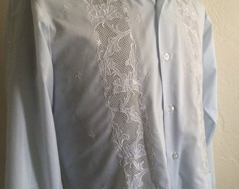 Vintage Men's 80's Shirt, Ethnic, Baby Blue, Floral, Long Sleeve, Button Up (M)