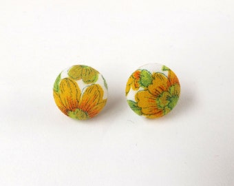 Leafy Sunflower Green White and Yellow Floral Vintage Patterned Fabric Button Stud Earrings 19mm or 15mm