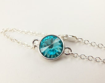 Turquoise Chain Bracelet Crystal Sterling Silver Modern Turquoise Jewelry