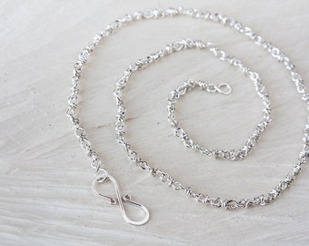 Artisan Handmade Sterling Silver Chain Necklace, wire wrapped bright silver necklace, chain for pendant 18 inch
