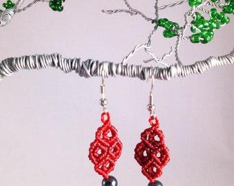 Hematite and Red Macramé Earrings