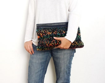 Black Knitted Leather Clutch with colored details Big Statement Clutch