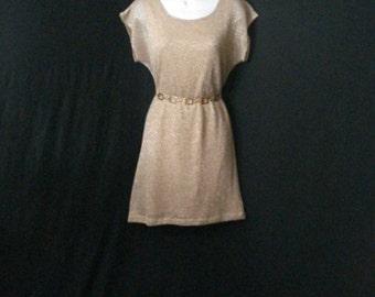 Gold Mini Dress Metallic Dolman Short Dress VintageClassic Lily Rose SM