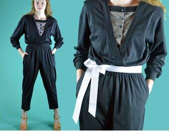Womens Black Jumpsuit Vintage 80s Harem Jumpsuit Nautical Taper Leg Ankle Length High Waist Long Sleeve One Piece Jumpsuit Jump Suit S / M