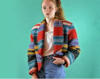 Vintage Indian Blanket Jacket Cropped Southwestern Jacket Tribal Native Indian Blanket Stitch Wool Waistcoat Equestrian Hipster Jacket M / L
