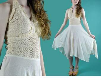 Vintage 70s Halter Dress Backless Crocheted Lace Bohemian Halter Dress Romantic Handkerchief Hem Sheer Gauze Hippie Sun Dress XS / S