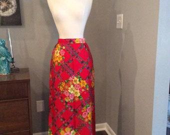 Vintage 1970s 70s Maxi Skirt - Alex Colman - red floral print - Hippie - Boho - Fall Winter Fashion