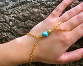 Turquoise Slave Hand Chain. Gold or Silver Base.