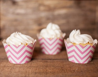12 Light Pink Chevron Cupcake Wrappers - Light Pink Cupcake Wrappers - Great for Birthday Parties, Baby Showers & Bridal Showers
