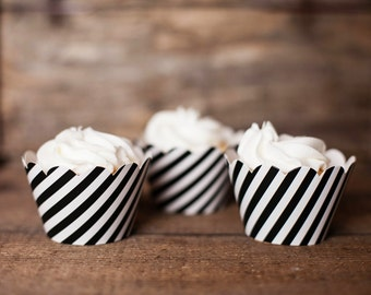 12 Cupcake Wrappers - Black Striped Cupcake Wrappers - Black Stripe Wrappers - Great for Birthday Parties, Baby Showers & Bridal Showers
