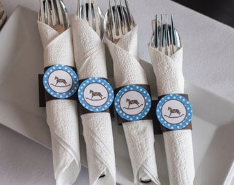 Napkin Rings - Blue Rocking Horse Theme - It's a Boy - Rocking Horse Baby Shower Decorations in blue and brown (12)
