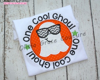 One Cool Ghoul, Boys Halloween Shirt, Cool Ghost Shirt,  Embroidered Applique Shirt or Bodysuit