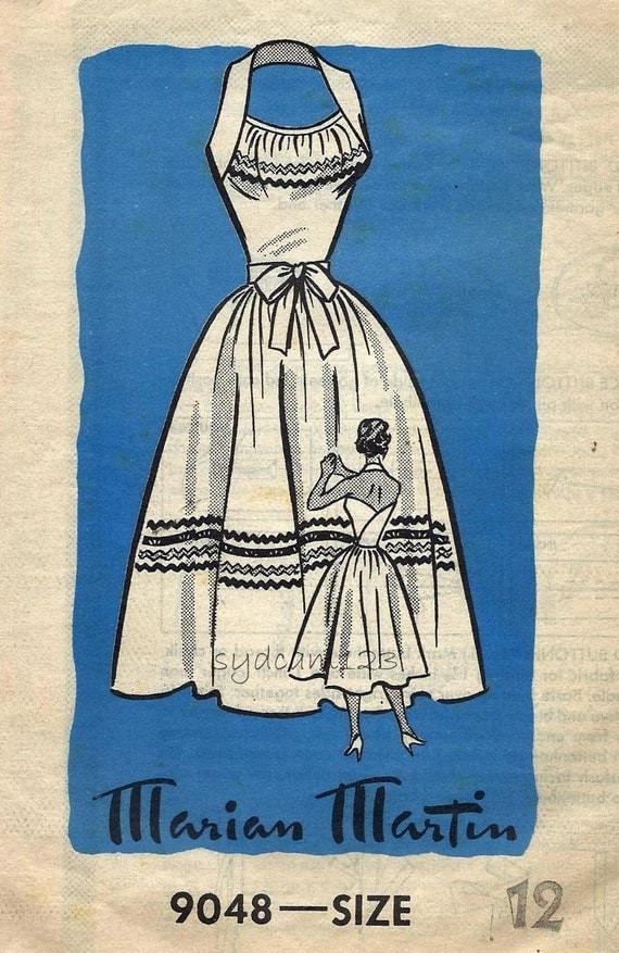 Vintage 1950s Back Wrap Halter Dress Pattern Full Skirt Tie Belt Marian Marti 9048 Bust 30