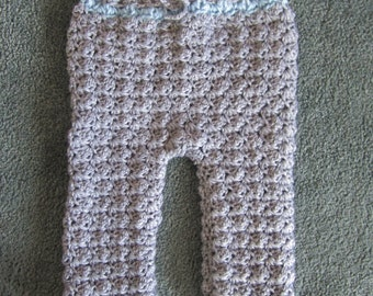Crocheted Baby Boy Pants Size 0-3 Month, Baby Bottoms, Boy Pants, Gray Baby Pants