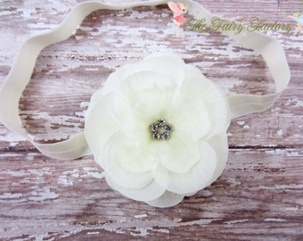 Flower Headband - Ivory Flower w/ Rhinestones Headband or Hair Clip - The Mia - Baptism, Christening, Baby Toddler Child Girls Headband