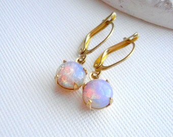 Vintage Fire Opal Earrings, Harlequin Drop Earrings, Pink Opal, October Birthstone Earrings