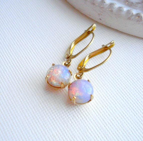 Vintage Fire Opal Earrings Opal Earrings Harlequin Drop Earrings Pink Opal Earrings October Birthstone Earrings